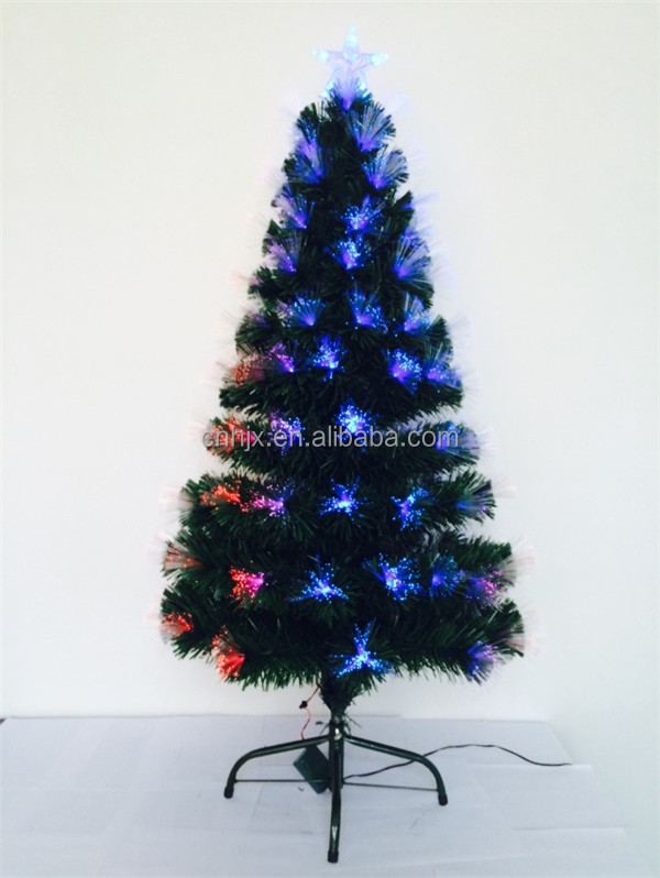 6FT Metal Artifial Fiber Optic PVC Christmas Tree, Changing Multicolor Outdoor Christmas Tree