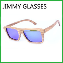 JM403 Natural Handcrafted Most Popular Custom Wholesale Blue Mirror Lens Wood Temple Sunglasses