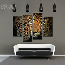 Black and Yellow Leopard Animals Canvas Print Poster Painting Picture Wall Art for Home Decor Gift 4 Panel Canvas Paintings