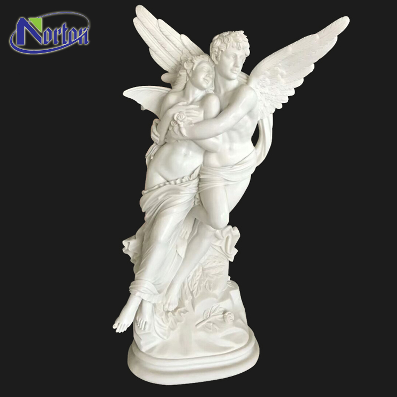 Modern Hand carved Angel Carving Statues Life Size Stone Man And Woman Sculpture White Marble Love Couple Angel Statuesue