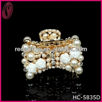 Mental Bow Pearl With Flower Bridal Accessories Hair Claw