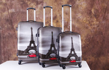Eiffel Tower Printing Travel Trolley Luggage Mens Best Carry On Luggage PC+ABS