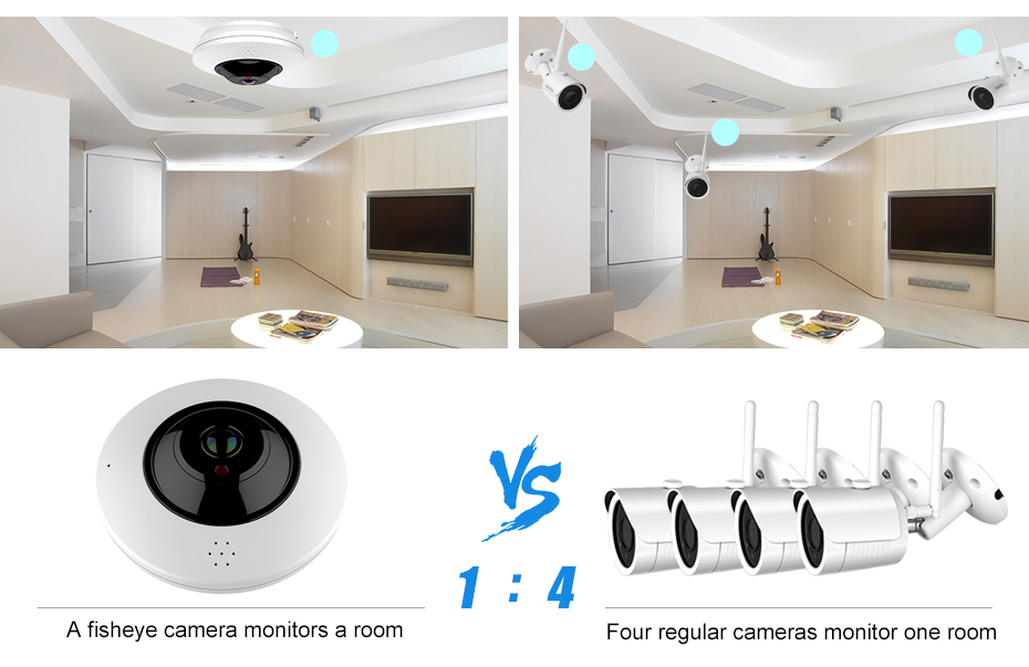 Indoor Security system 360 degree camera POE Wireless Support TF Card
