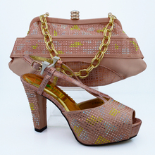 Peach color african shoes and bags dress shoes women bag set
