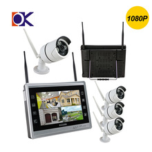 11inch 4CH 1080P wired and wireless camera 3.6mm len cctv home security system