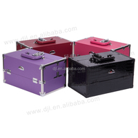 Clear Acrylic Top Jewelry Or Cosmetic Storage Display Boxes Makeup Train Case With Lock