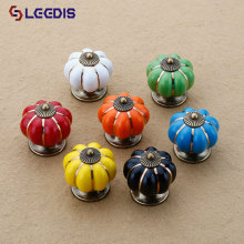 LEEDIS Wholesale Ceramic Porcelain Colorful Zinc Drawer Kitchen Cabinet Knobs Handle