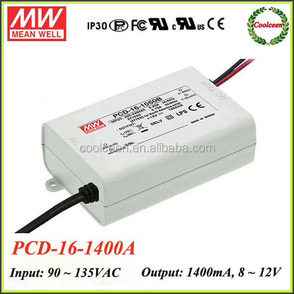 Meanwell PCD-16-1400 16.8W AC constant current LED driver power supply waterproof
