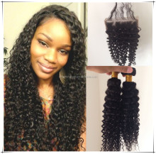 virgin malaysian deep curly human hair bundles 2pcs with free part lace closure