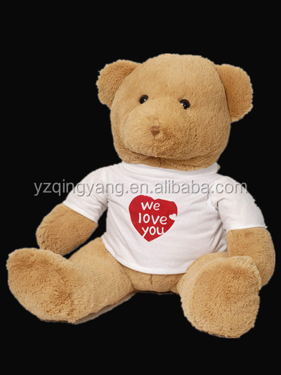 "7"" cute and cheap stuffed soft plush sitting love teddy bear toy in T-shirt"