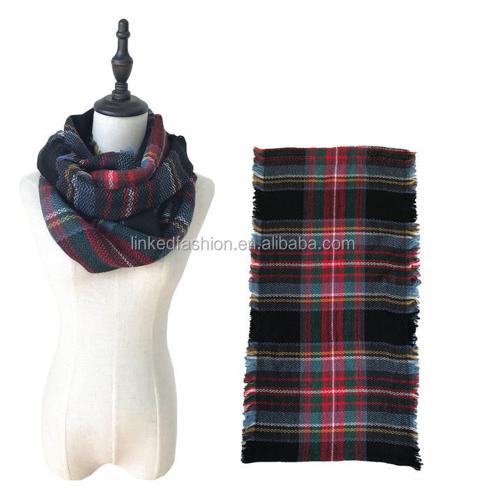 wholesale winter warm acrylic knit infinity scarf with fringe cashmere feel personalized plaid neckerchief