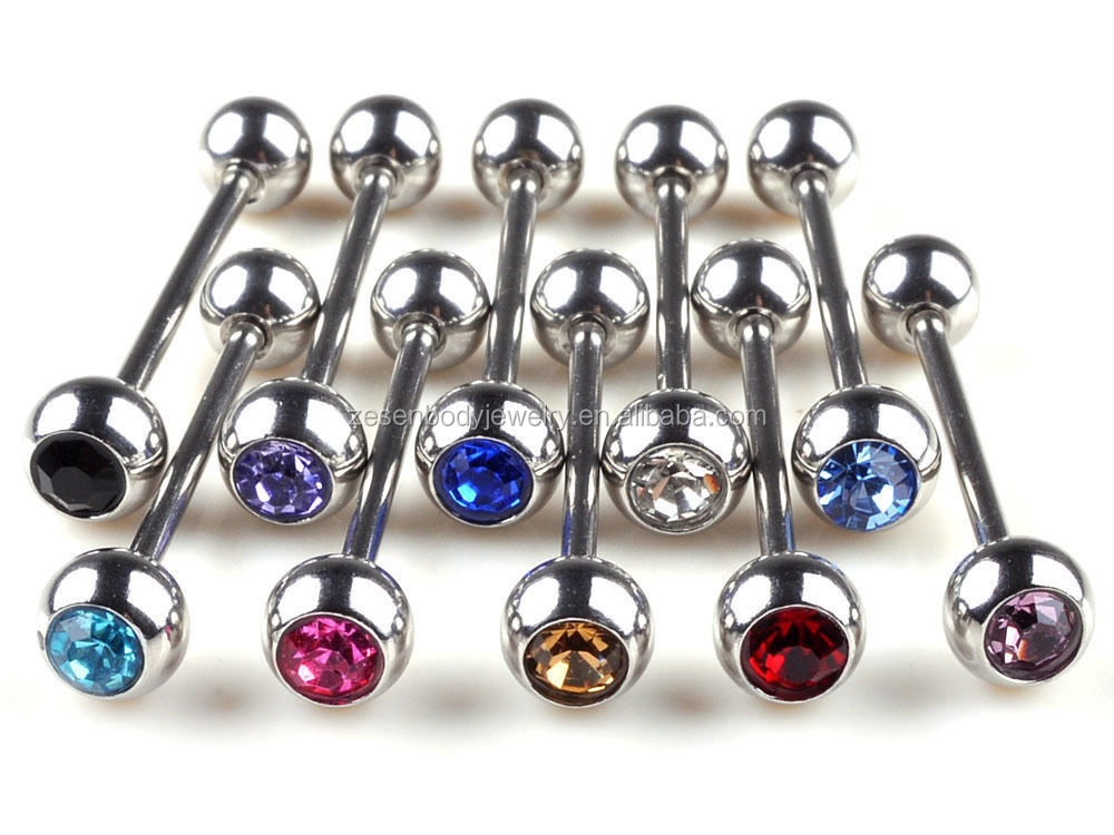 Mixed Logo Stainless Steel Ball Tongue Barbell Rings Body Piercing Jewelry