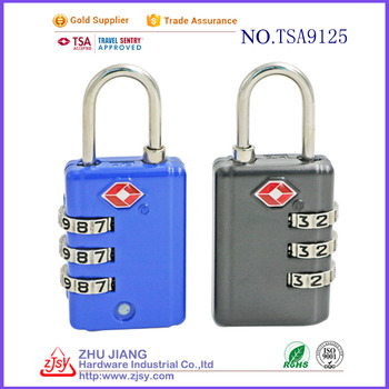 top security TSA 3-dial combination luggage lock for travel
