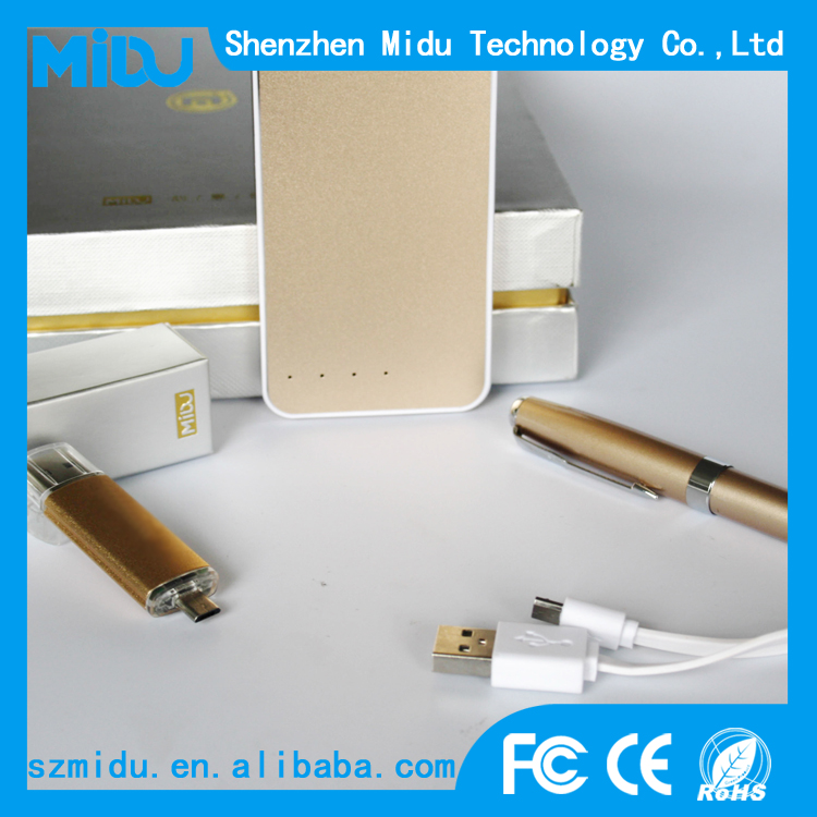 MIDU promotional customized gifts set /luxury golden 3pcs set mobile power bank 5000mah manual MADE-IN CHINA