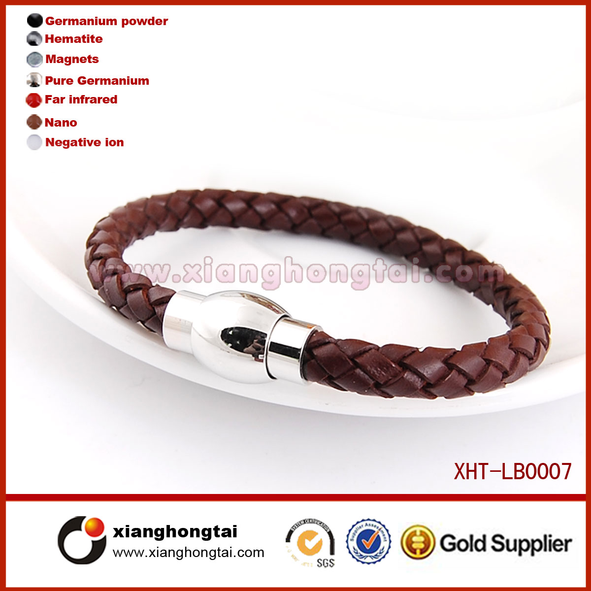 New arrive wholesale stainless steel leather bracelet LB0007