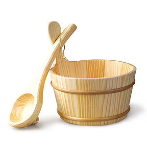 High quality sauna accessorise solid wood material bucket & spoon