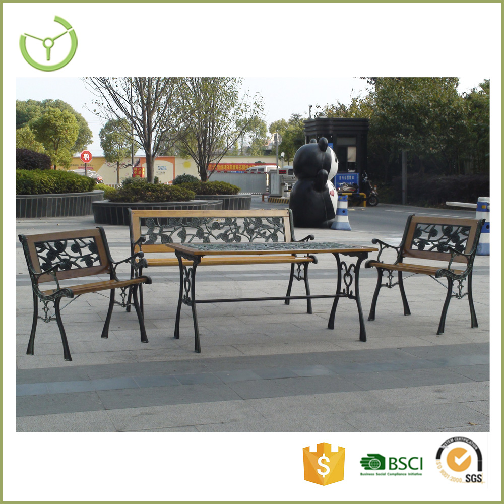 Wholesale 4 pcs outdoor patio cast iron wood park bench set/park bench