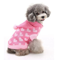 Cheap Small Puppy Clothes Knitting Loving Heart Pattern Dog Crochet Sweater