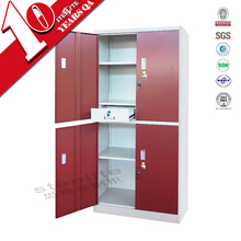 Knocked down high gloss red 4 door steel wardrobe / 4 door wardrobe with lockable drawers