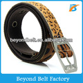 Beyond Fashion Cotton Canvas Belt Stitched with Leopard Fake Fur