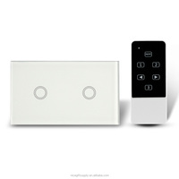 2 gang 1way 2 ways Smart Touch Switches Crystal Glass Panel Control Home Light photoelectric modern light switches switch cover