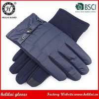 HELILAI Winter Fashion Men's Navy Color with Buckle Polyester Fabric Gloves
