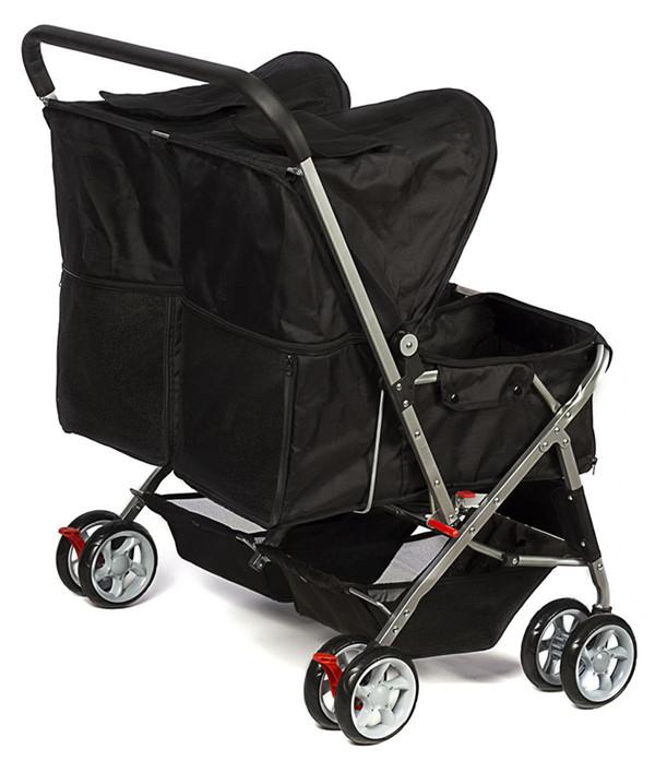 Pet Stroller 4-Wheel, Twin Carriage Black-2.jpg