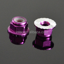 Purple nylon embedded in aluminum alloy flange nut ,Color the flange nut