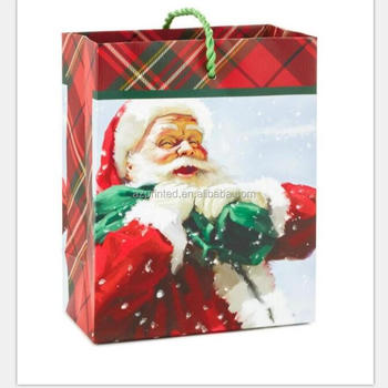 Cheap price christmas hat foldable printing paper bag