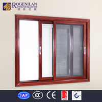 Rogenilan aluminum window frame mosquito netting double glass sliding window with 4 panels