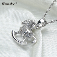 Latest Design Sterling Silver Horse Pendant Necklace With Zircon
