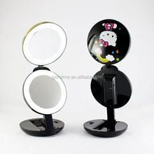 led lighted table top makeup folding mirror with 10x magnfication