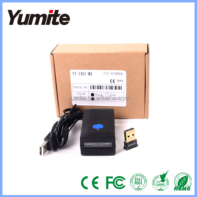 YT-1401-MA CCD Mini Bluetooth Barcode Scanner, high quality cordless bluetoot barcode reader support Android, iOS, Tablet PC,PC