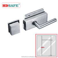 Stainless steel glass door lock with cylinder, house simple door locks