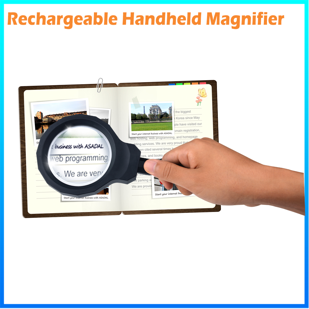 DH-84012 Fashion Hand Held Magnifier , Antique High Power Big Magnification All Metal Magnifying Glass With Led