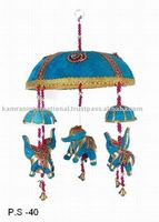Indian fabric Elephant bell wall hangings in blue color, Traditional Rajasthani bell wall hanging