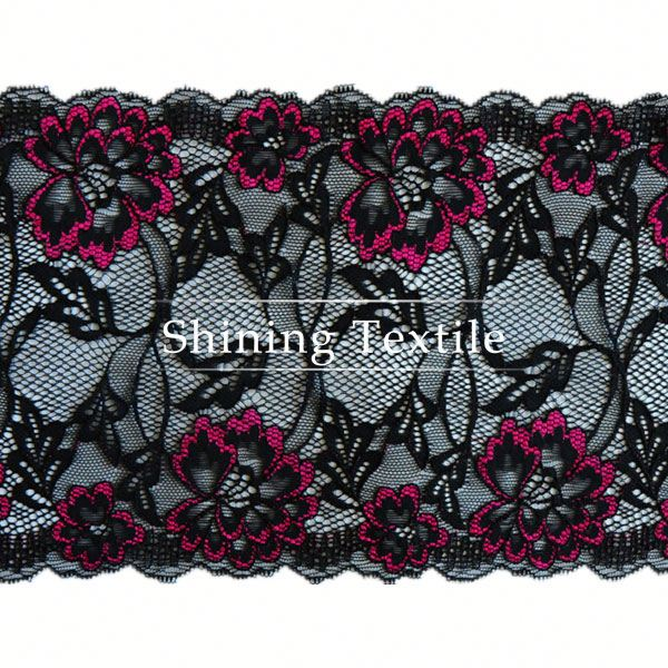 Stretch Colorful Nylon Spandex Embroidered Tulle Lace Trim For Underwear