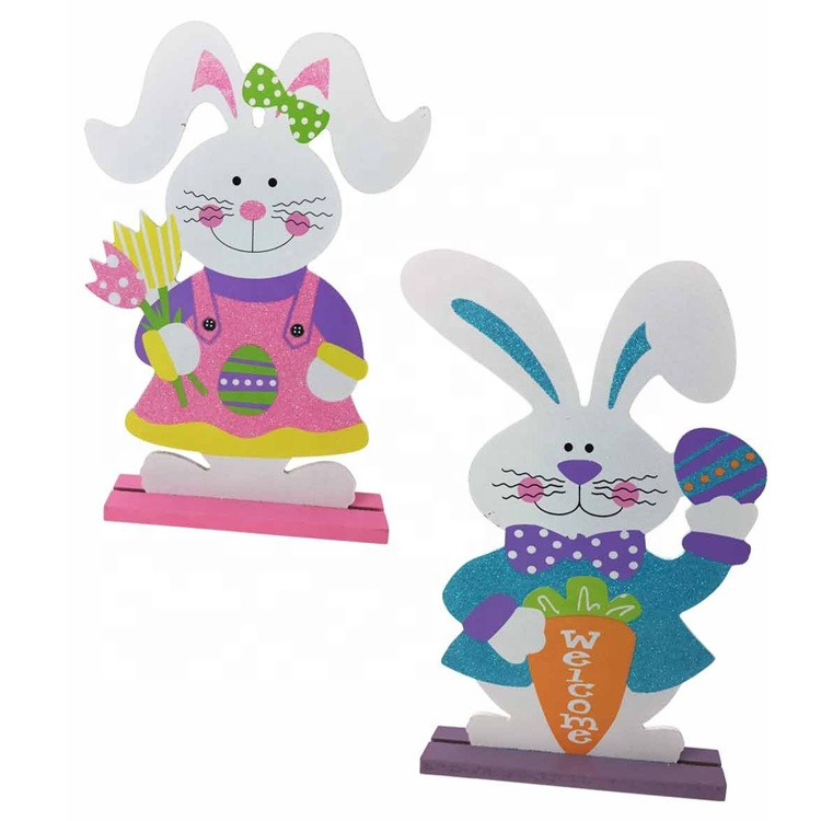 Shenzhen Factory <strong>Manufacturer</strong> Easter Wood Decorative Tabletop Glitter Mr and Mrs Rabbit Sign
