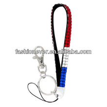 Red, White, and Blue Sparkling Crystal Keychain
