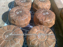 Dark tan handmade moroccan leather pouffe ottomans pouf