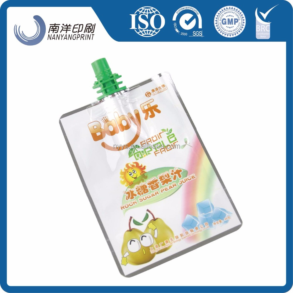 oem customed small specification stand up pouch with spout and High quality for fruit beverage