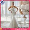 Newest style strapless lace mermaid ruched appliqued spanish designer wedding dress