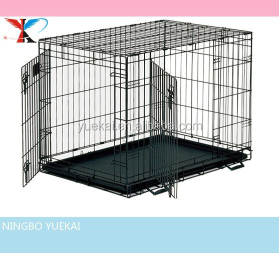 Collapsible Metal Dog Crate with double doors.