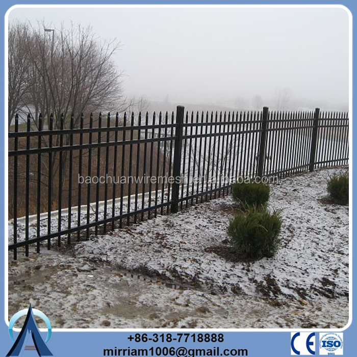 Black galvanised tubular steel fencing with best price