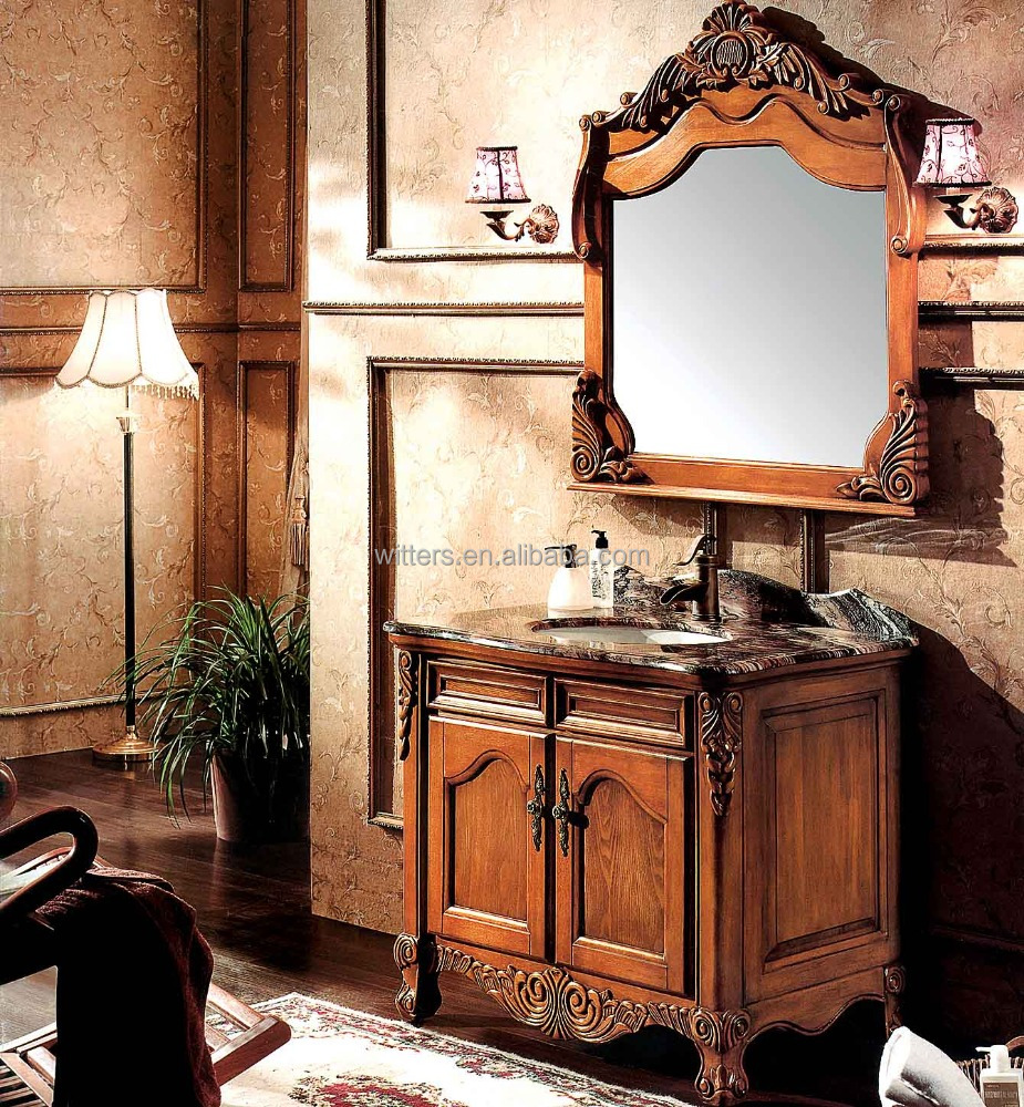 Traditional Noble Unusual Solid Oak Bathroom Vanity,Wood Average Height of Bathroom Vanity on Legs WTS233