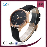 Perfect quality coffee gold plating western style fashion womens black color time watch