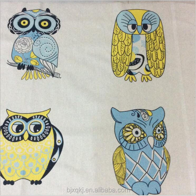 New fashion Alibaba gold supplier wholesale custom owl digital print linen cotton fabric with cheap price