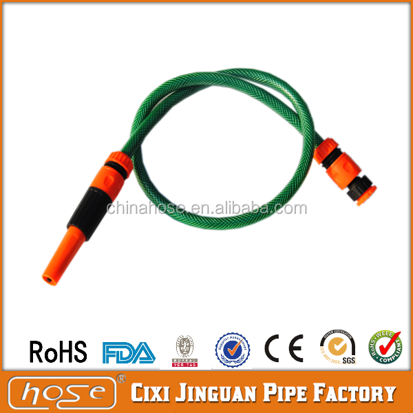 "Cixi Jinguan 1/2"" 3/4"" 1"" Soft PVC Water Hose Pipe with Nozzle Set,High Pressure PVC Green Hoses,Flexible PVC Braided Hose Pipe"
