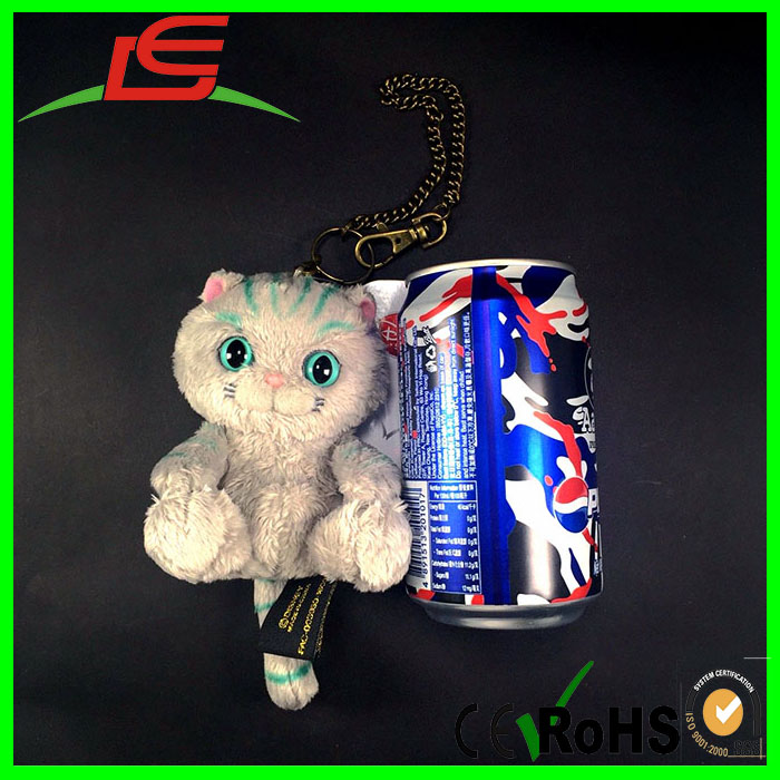 Custome Green Stripe Alice Cat Plush Key Chain