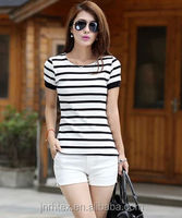 Fashion design Best-selling cotton stripe lady t-shirt